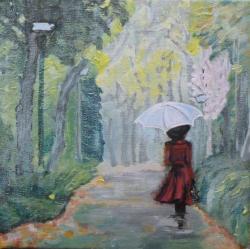 Picturi cu peisaje Doamna in rosu