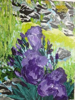 Picturi cu peisaje Irisi la malul lacului