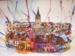 Picturi cu peisaje Sibiu, Piata Mare