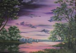 Picturi cu peisaje Apus in culoare