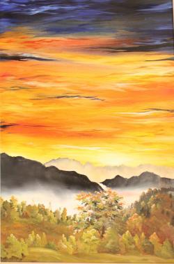 Picturi cu peisaje Apus viu