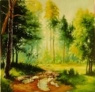 Picturi cu peisaje Dimineata in padure