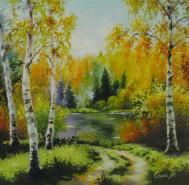 Picturi cu peisaje Toamna pe lac