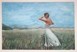 Picturi cu peisaje Fata in rochie alba