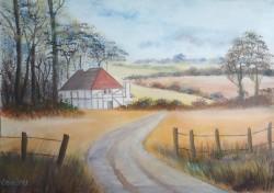 Picturi cu peisaje Old barns - casuta de pe deal