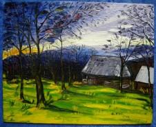 Picturi cu peisaje Apus in maramures