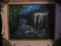 Picturi cu peisaje Cascada in munti
