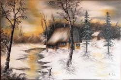 Picturi cu peisaje Apus rece 2