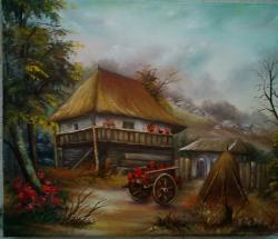 Picturi cu peisaje flori in curte