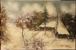 Picturi cu peisaje Miez de iarna