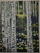 Picturi cu peisaje Padure de mesteceni primavara
