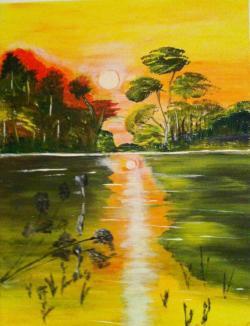 Picturi cu peisaje Frumusetea  apusului