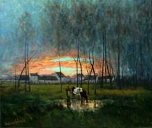 Picturi cu peisaje Lasatul serii