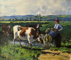 Picturi cu peisaje Milkmade with Cows