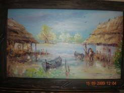 Picturi cu peisaje Pescar la malul dunarii