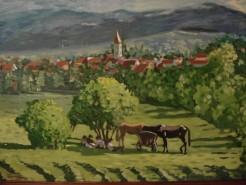 Picturi cu peisaje Odihna pe camp