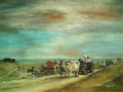 Picturi cu peisaje Car cu boi 3