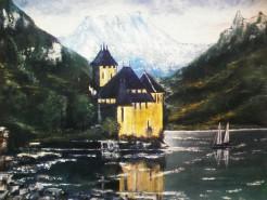 Picturi cu peisaje Castel  la munte