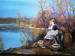 Picturi cu peisaje Fata cu ulcioarele