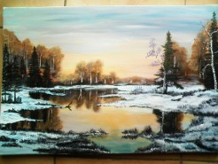 Picturi cu peisaje Inceput de iarna
