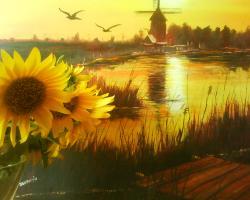 Picturi cu peisaje Sulina .tablou pictat la cerere