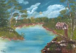 Picturi cu peisaje Casuta de langa rau