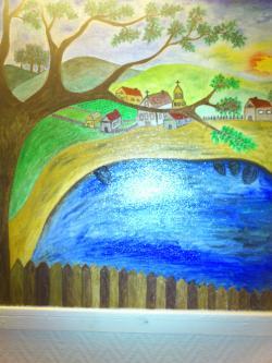 Picturi cu peisaje satul vazut din deal