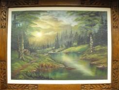 Picturi cu peisaje Apus verzui