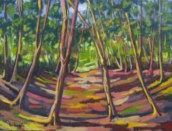 Picturi cu peisaje Apus in padure