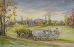 Picturi cu peisaje Car cu boi in ieud maramures