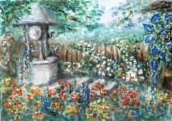 Picturi cu peisaje Gradina cu flori si fantana