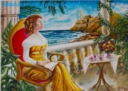 Picturi cu peisaje Poezie la terasa