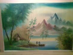 Picturi cu peisaje Pescari pe lac