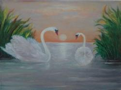 Picturi cu peisaje Grație pe apă
