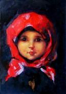 Picturi cu potrete/nuduri Fetita cu basma rosie