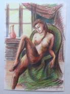 Picturi cu potrete/nuduri Nud in fotoliu verde