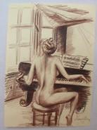 Picturi cu potrete/nuduri Nud la pian