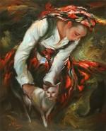 Picturi cu potrete/nuduri Fata cu pisica