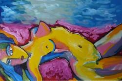Picturi cu potrete/nuduri Nud pe pat