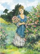 Picturi cu potrete/nuduri Fata culegand flori