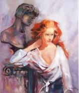 Picturi cu potrete/nuduri Fata cu statuia