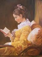 Picturi cu potrete/nuduri Fata citind