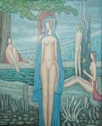 Picturi cu potrete/nuduri Peisaj cu nuduri si lac negru