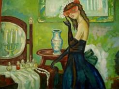Picturi cu potrete/nuduri Fata cu masca