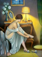 Picturi cu potrete/nuduri Fata se pregateste de bal