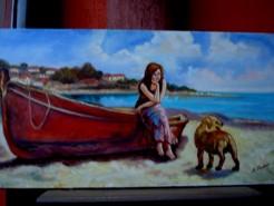 Picturi cu potrete/nuduri Tablou fata in barca