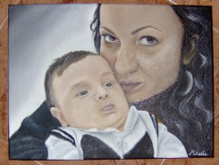 Picturi cu potrete/nuduri Portret mama si copil