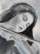 Picturi cu potrete/nuduri Violin girl detail