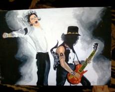 Picturi cu potrete/nuduri Michael jackson in concert alaturi de slash
