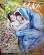 Picturi cu potrete/nuduri In gradina